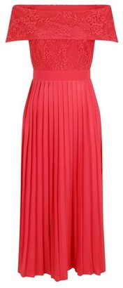 Dorothy Perkins Womens **Little Mistress Red Pleated Hem Maxi Dress, Red
