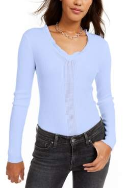 Hooked Up By Iot Hooked Up by Iot Juniors' Ruffled V-Neck Sweater