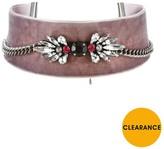 Very Wide Velvet Jewel Detail Choker