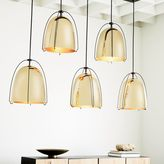 west elm Rejuvenation Haleigh Wire Dome Chandelier, Linear Canopy - Lacquered Polished Brass