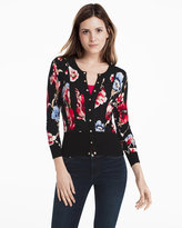 White House Black Market Long-Sleeve Floral Printed Cardigan
