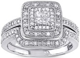Stella Grace Sterling Silver 1/6 Carat T.W. Diamond Square Halo Engagement Ring Set