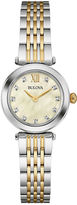 Bulova Womens Diamond-Accent Two-Tone Stainless Steel Bracelet Watch 98P154