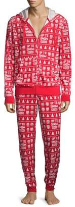 Dec. 25th Mens Velour Sleep Hoodie and Joggers, 2-Piece Set