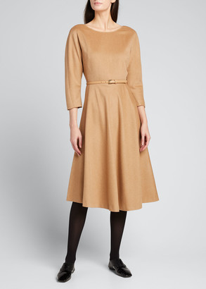 Max Mara Leale Belted Wool Midi Dress