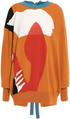 Roksanda Bow-embellished Color-block Wool Sweater