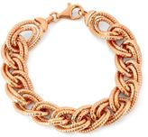 Tiara Rose Gold Plated Sterling Silver Italian Thick Diamond Cut Double Oval Link Bracelet