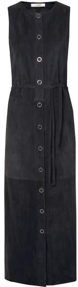 Yves Salomon 绒面革中长连衣裙