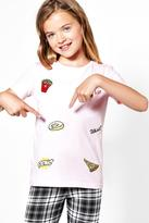 Boohoo Girls All Over Badge Embroidered Tee pink