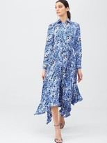 Very Pleated Skirt Shirt Dress - Print