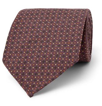 Drakes 8cm Printed Silk Tie - Men - Burgundy
