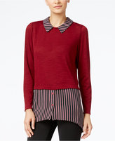 NY Collection Striped Layered-Look Top