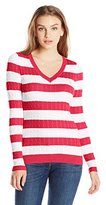 U.S. Polo Assn. Juniors' Stripe V-Neck Cable-Knit Pullover Sweater