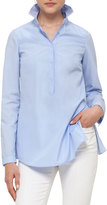 Akris Punto Pleated-Back Half-Button Blouse, Light Blue