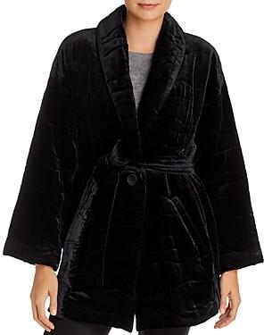 Eileen Fisher Petites Belted Velvet Coat - 100% Exclusive