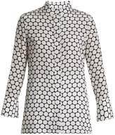 Diane von Furstenberg Double-cuff Boltin-print silk crepe de Chine shirt