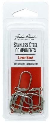 John Bead Corporation John Bead S Steel Earring Lever Back 12x17mm 8pc - White - Medium