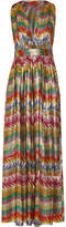 Missoni Printed Silk-blend Lamé Maxi Dress - Yellow