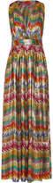 Missoni Printed Silk-blend Lamé Maxi Dress - Yellow