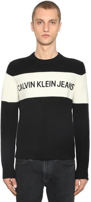 Calvin Klein Jeans COLOR BLOCK WOOL KNIT SWEATER