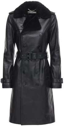Saint Laurent Leather Shearling Trench Coat