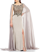 Terani Couture Round Neck Sleeveless Beaded Bodice Cape Gown