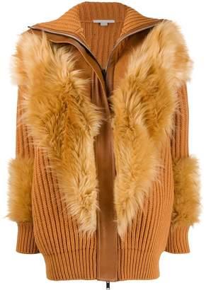 Stella McCartney Fur Free Fur panelled cardi-coat
