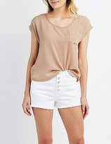 Charlotte Russe Button-Up Back Front-Pocket Boxy Top