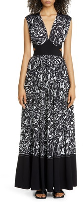 Proenza Schouler Floral Cutout Maxi Dress
