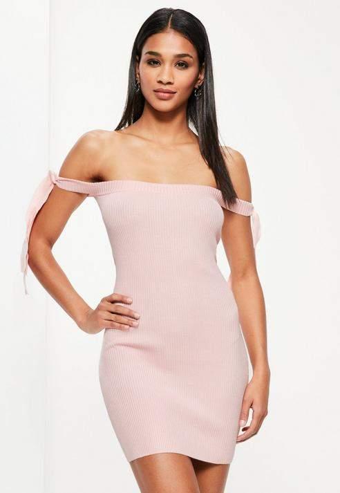 Missguided Basic Tie Bardot Mini Jumper Dress