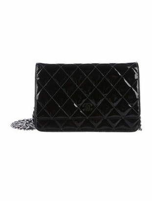 Chanel Patent Wallet On Chain Black
