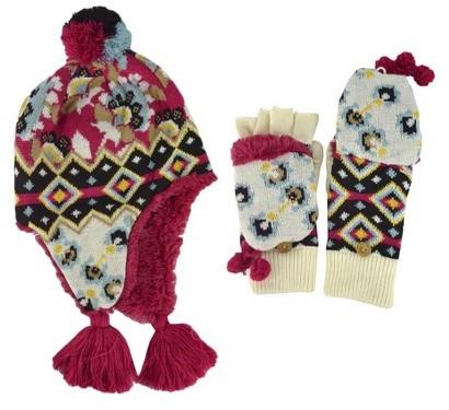 Muk Luks Hat and Flip Top Glove Set - Multicolor 2 Pc