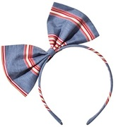 No Added Sugar Blue and Multi Striped Large Bow Headband