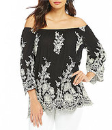 Bobeau Floral Embroidered Off-The-Shoulder Woven Peasant Top