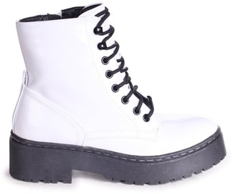 Linzi DESIRE - White Nappa Military Style Lace Up Boot With Chunky Black Rubber Sole