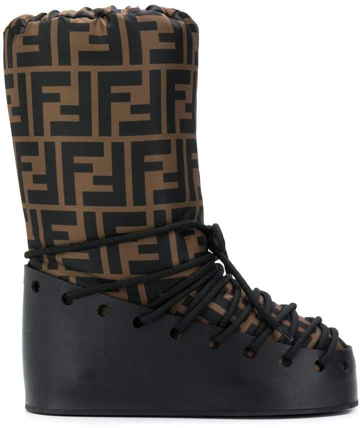 Fendi FF print moon boots
