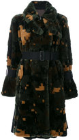 Sacai cross pixel faux fur coat - women - Calf Leather/Acrylic/Modacrylic/Wool - 2