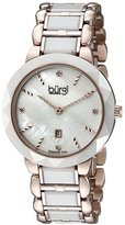 Burgi Women's BUR147TRI White and Rose Gold Quartz Watch With Diamond Mother of Pearl Dial And White and Rose Gold Ceramic Bracelet
