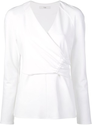 Tibi Structured Crepe Shirred Wrap Top