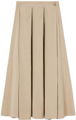A Line Clothing A-line Clothing - Seashell Side Splits Cotton Midi Skirt