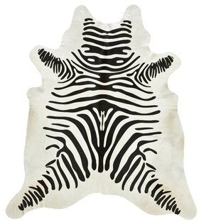 Saddlemans Zebra Animal Print Cowhide Black/Off White Area Rug