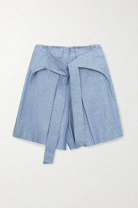 3.1 Phillip Lim Tie-front Cotton-chambray Shorts - Blue