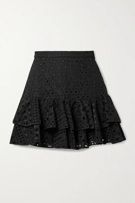 Charo Ruiz Ibiza Natalie Tiered Broderie Anglaise Cotton-blend Mini Skirt - Black