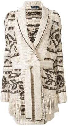 Polo Ralph Lauren fringe-trim shawl cardigan