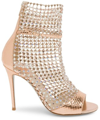 Rene Caovilla Galaxia Crystal Mesh Snakeskin-Embossed Metallic Leather Sandals