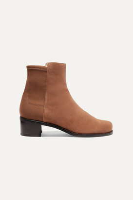 Stuart Weitzman Easyon Reserve Suede And Neoprene Ankle Boots - Brown