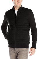 Calvin Klein Men's Cotton Rib and Peached Quilted Full Zip Sweater