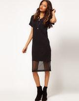 ASOS Midi T-shirt Dress With Chiffon Underskirt
