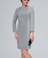 JET Black & White Diamond Contrast-Print Sheath Dress