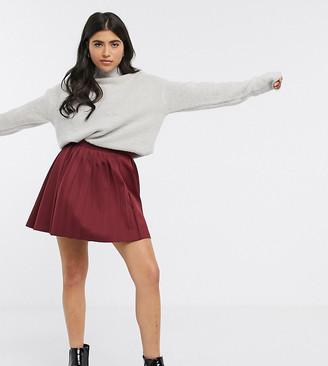 ASOS DESIGN Petite mixed pleat scuba mini skirt